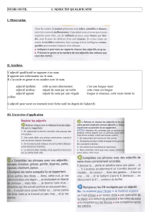 FICHE OUTIL L`ADJECTIF QUALIFICATIF I. Observation II. Synthèse