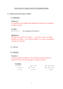 Cours Equation et inéquation