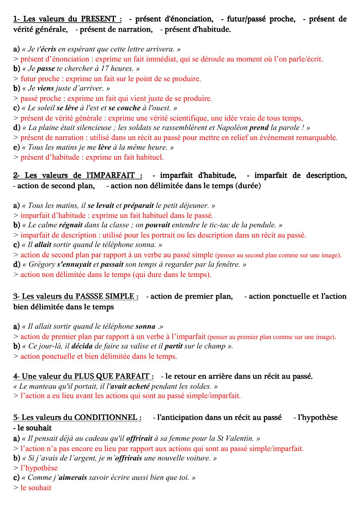 Valeurs des temps ( PDF