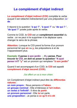 Cm1 G … Le complément d`objet indirect complète le verbe - I
