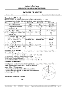 devoir de devoir de maths