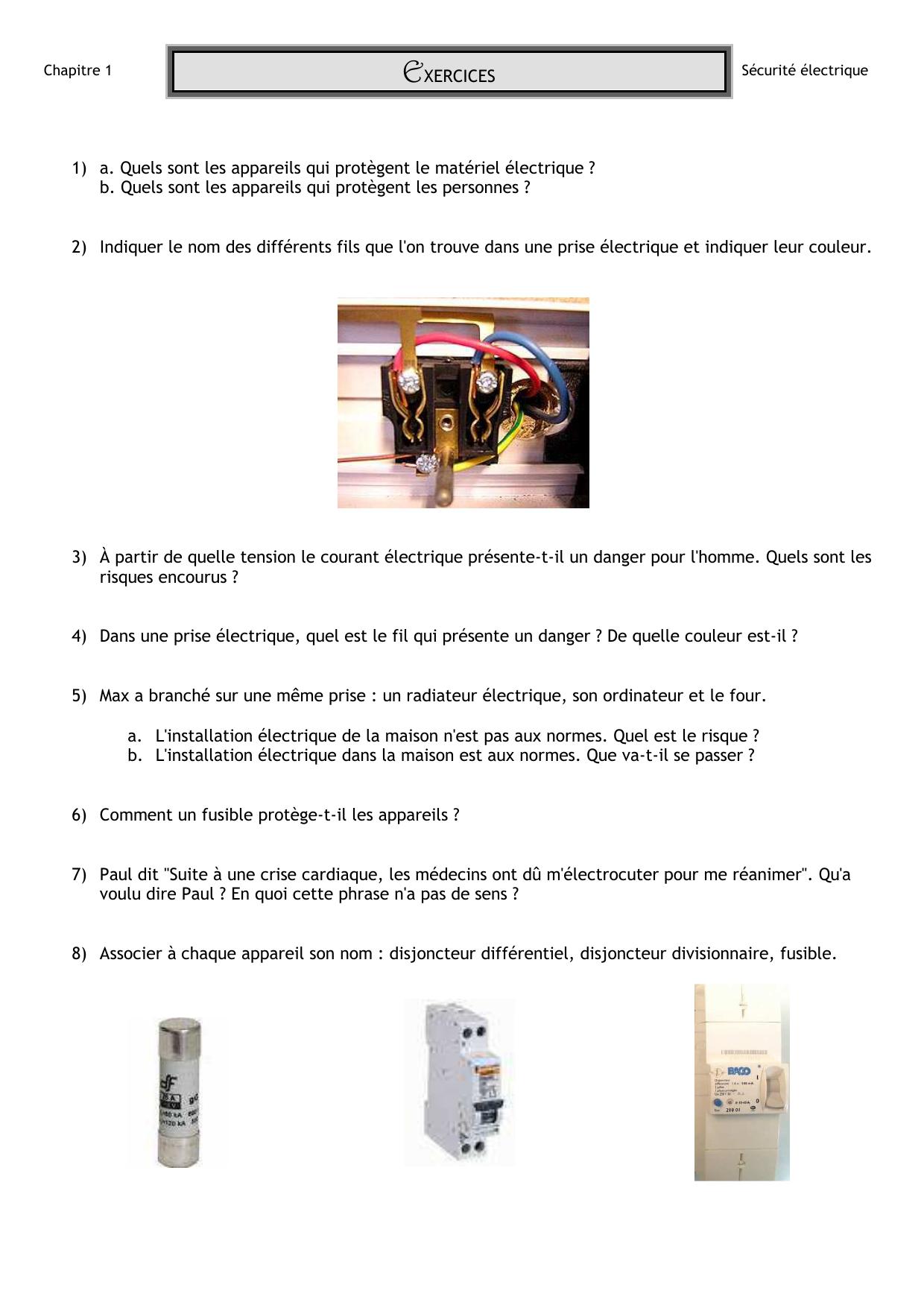 EXERCICES A Quels Sont Les Appareils Qui Protègent Le Matériel - Quel disjoncteur differentiel pour maison