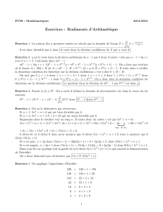 Exercices : Rudiments d`Arithmétique - PCSI