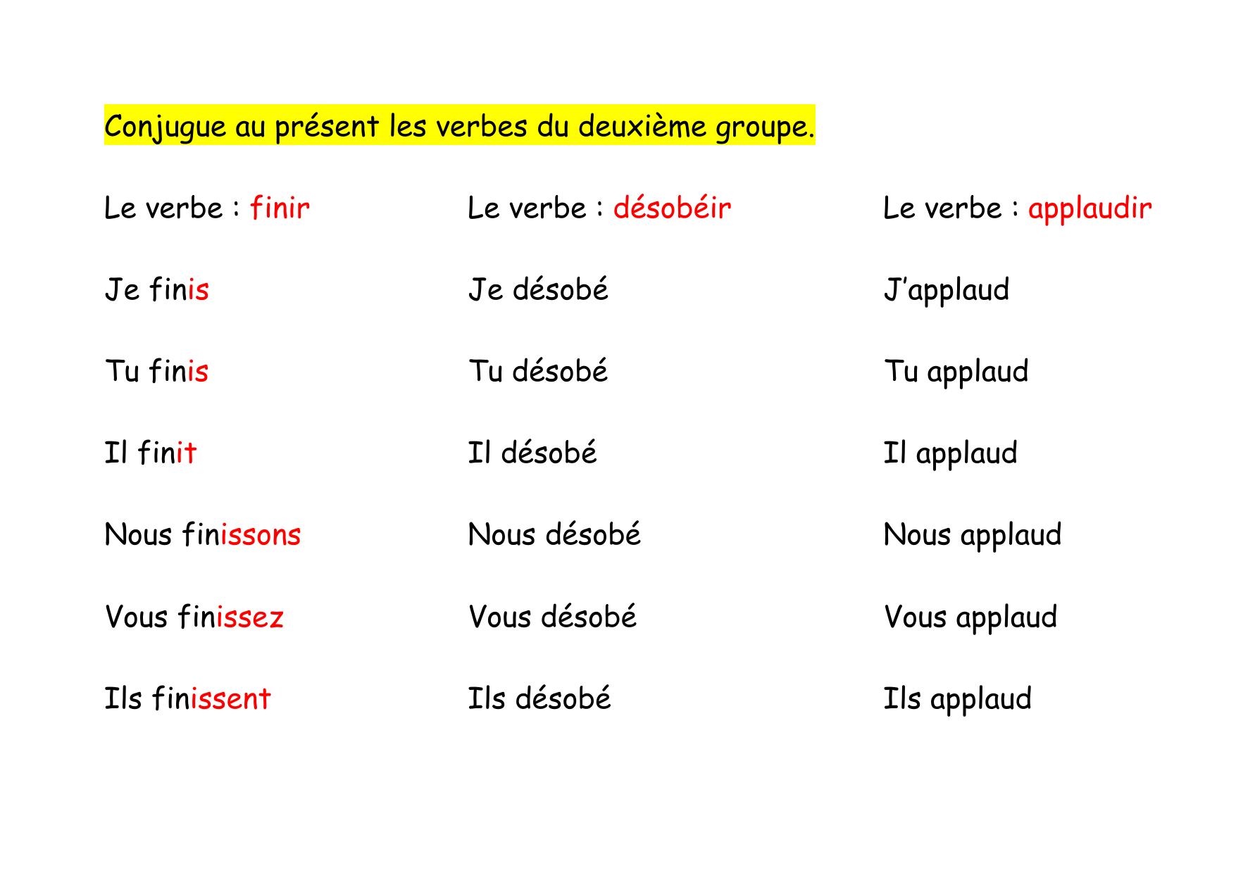 Conjugue Au Present Les Verbes Du Deuxieme Groupe