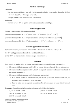 Notation scientifique par B. Chaput