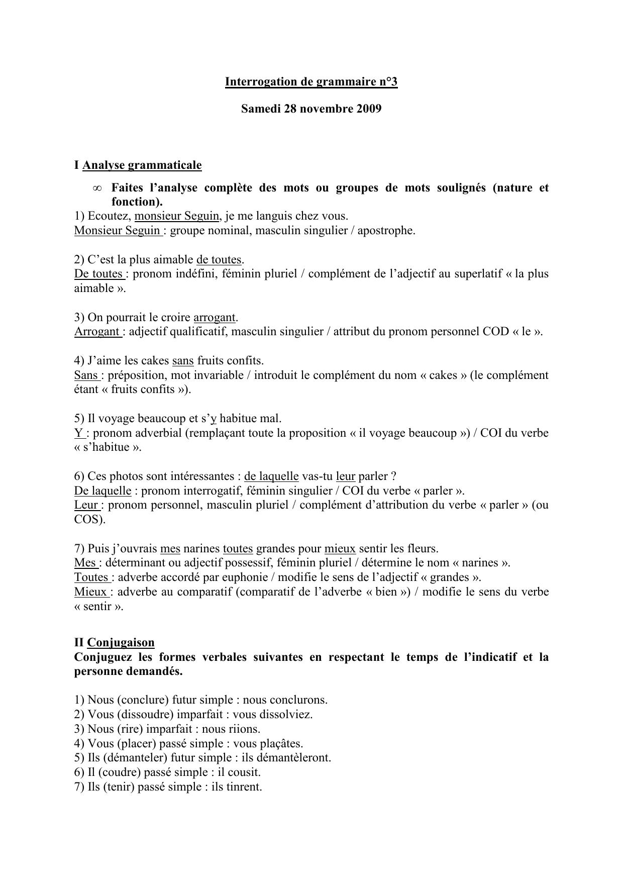 Interrogation De Grammaire N 3 Samedi 28 Novembre 2009 I