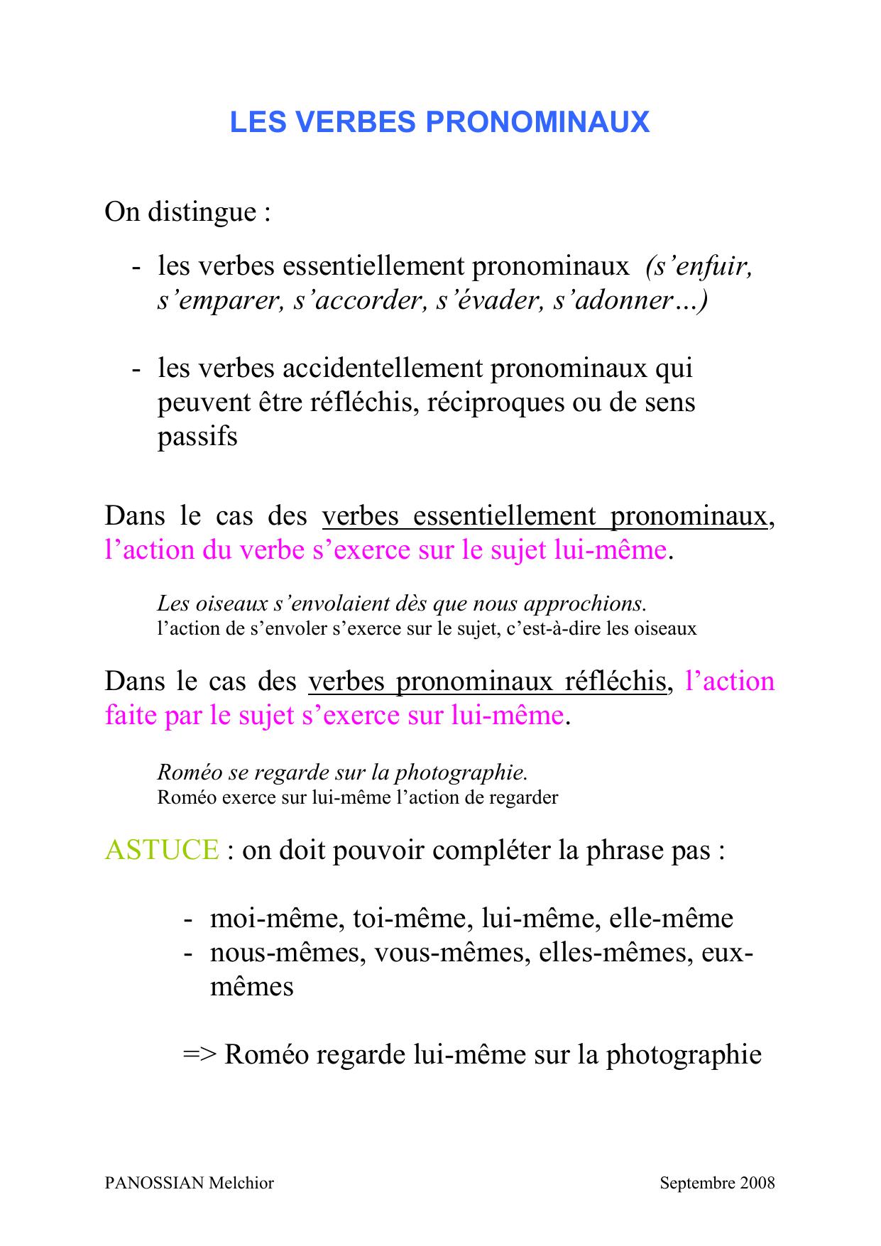 Les Verbes Pronominaux Le Site De Melchior Panossian