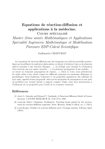 Equations de réaction-diffusion et applications `a la médecine