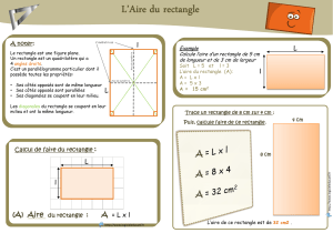 regle et calcul de l`aire du rectangle et propriétés du rectangle