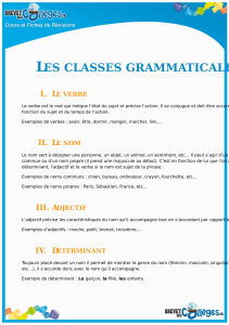 les classes grammaticales