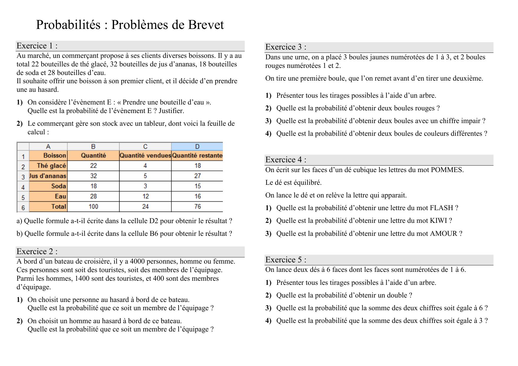 Exercices 3eme Probabilites Problemes De Brevet