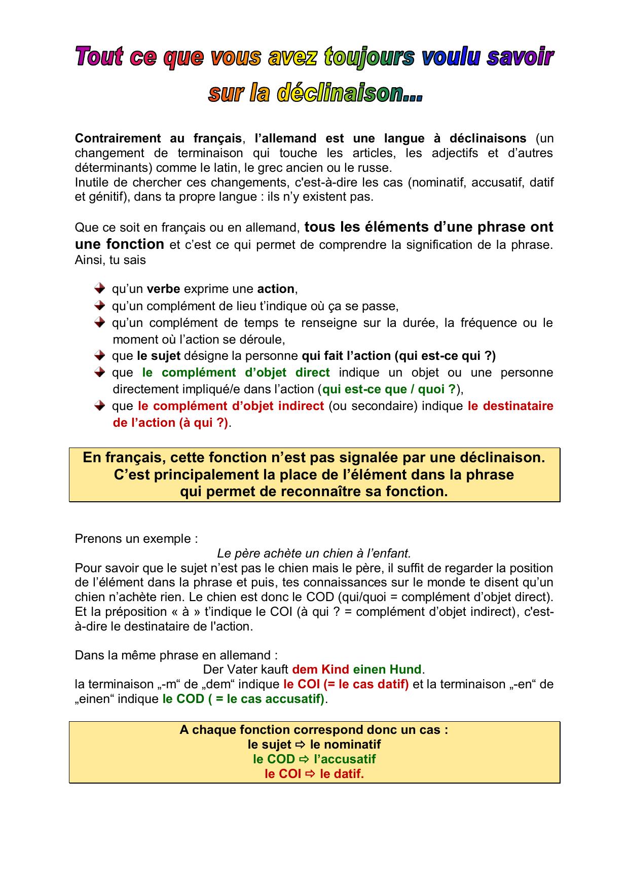 En Francais Cette Fonction N Est Pas Signalee Par Une Declinaison C