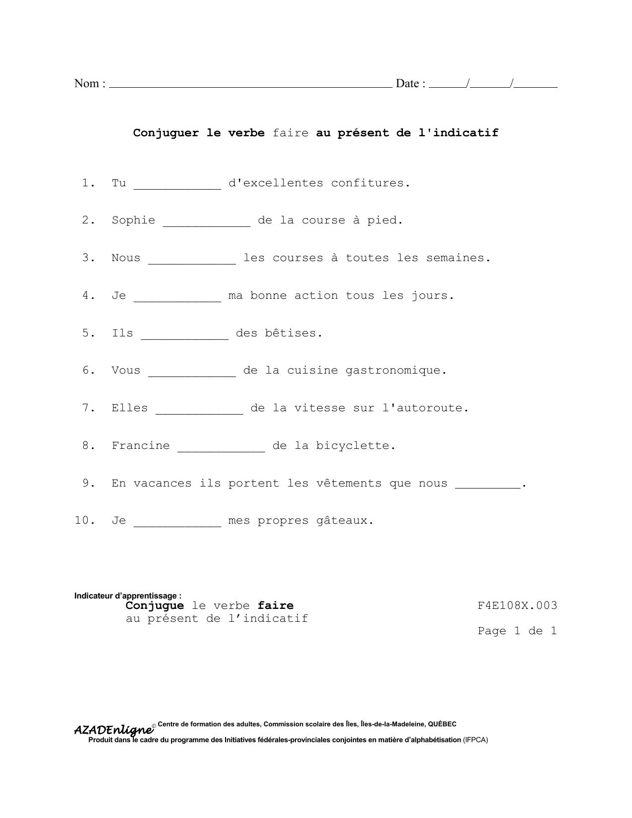 Conjuguer Le Verbe Faire Au Present De L Indicatif 1 Tu