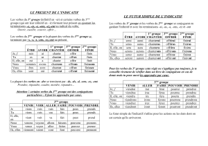 LE PRESENT DE L`INDICATIF LE FUTUR SIMPLE DE L`INDICATIF