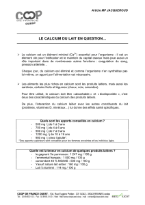 article mpj calcium du lait