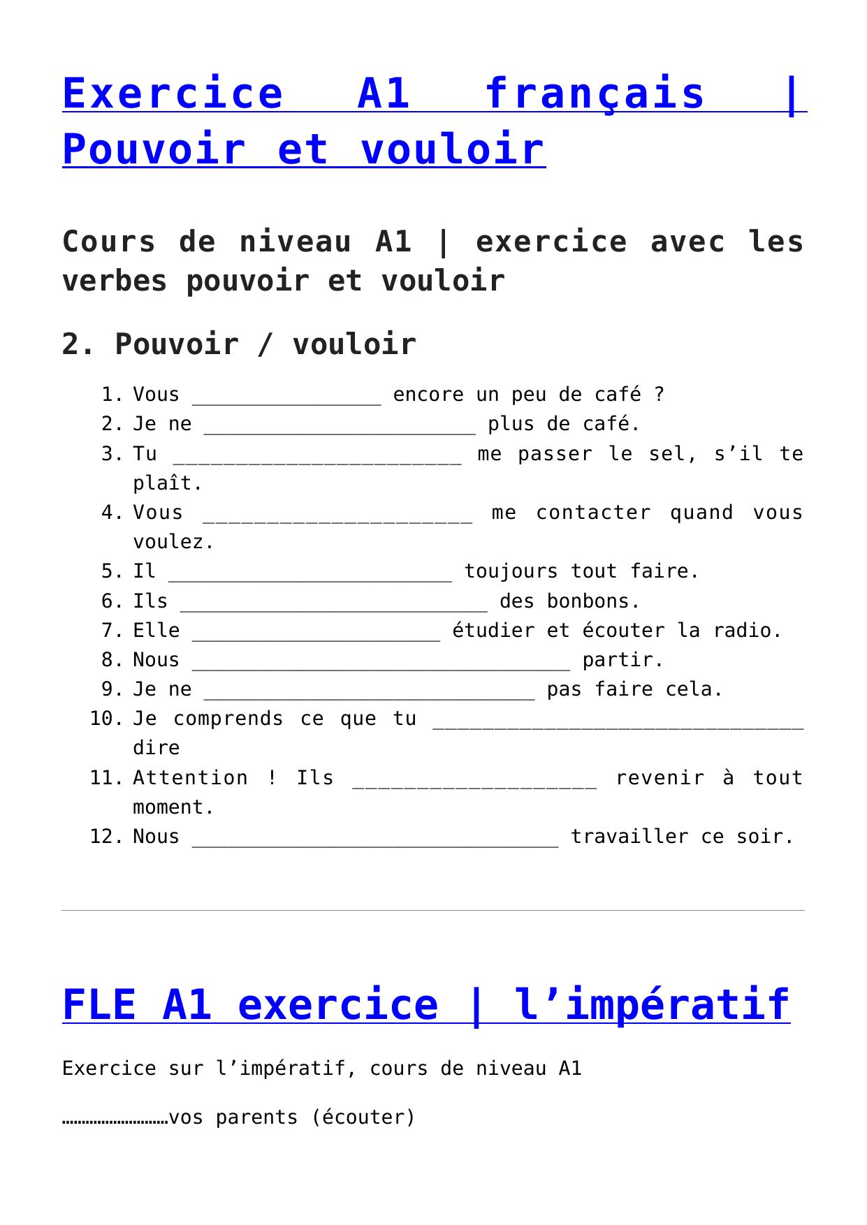 Exercice A1 français | Pouvoir et vouloir,FLE A1