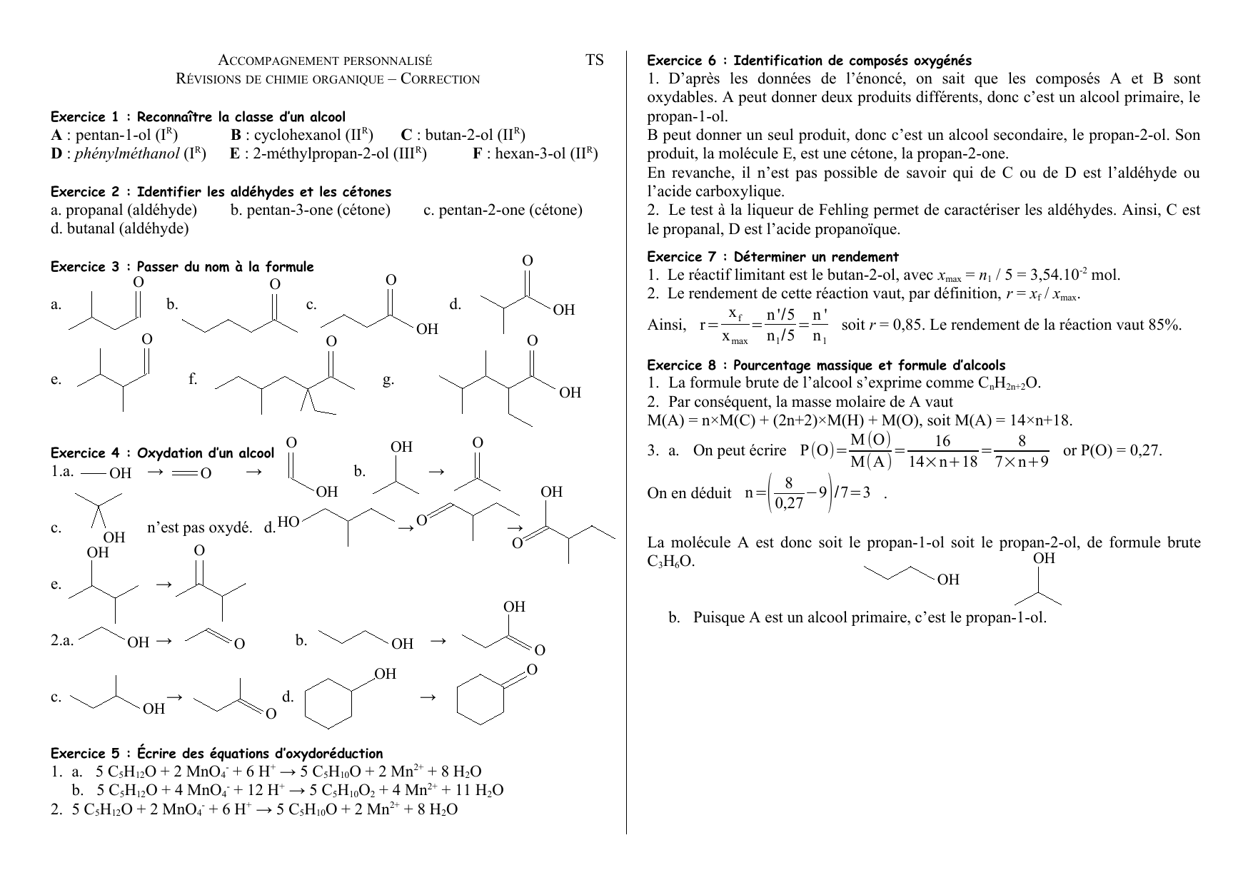 Ts A Pentan 1 Ol Ir B Cyclohexanol Iir C Butan 2