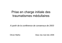 Prise en charge initiale des traumatismes médullaire