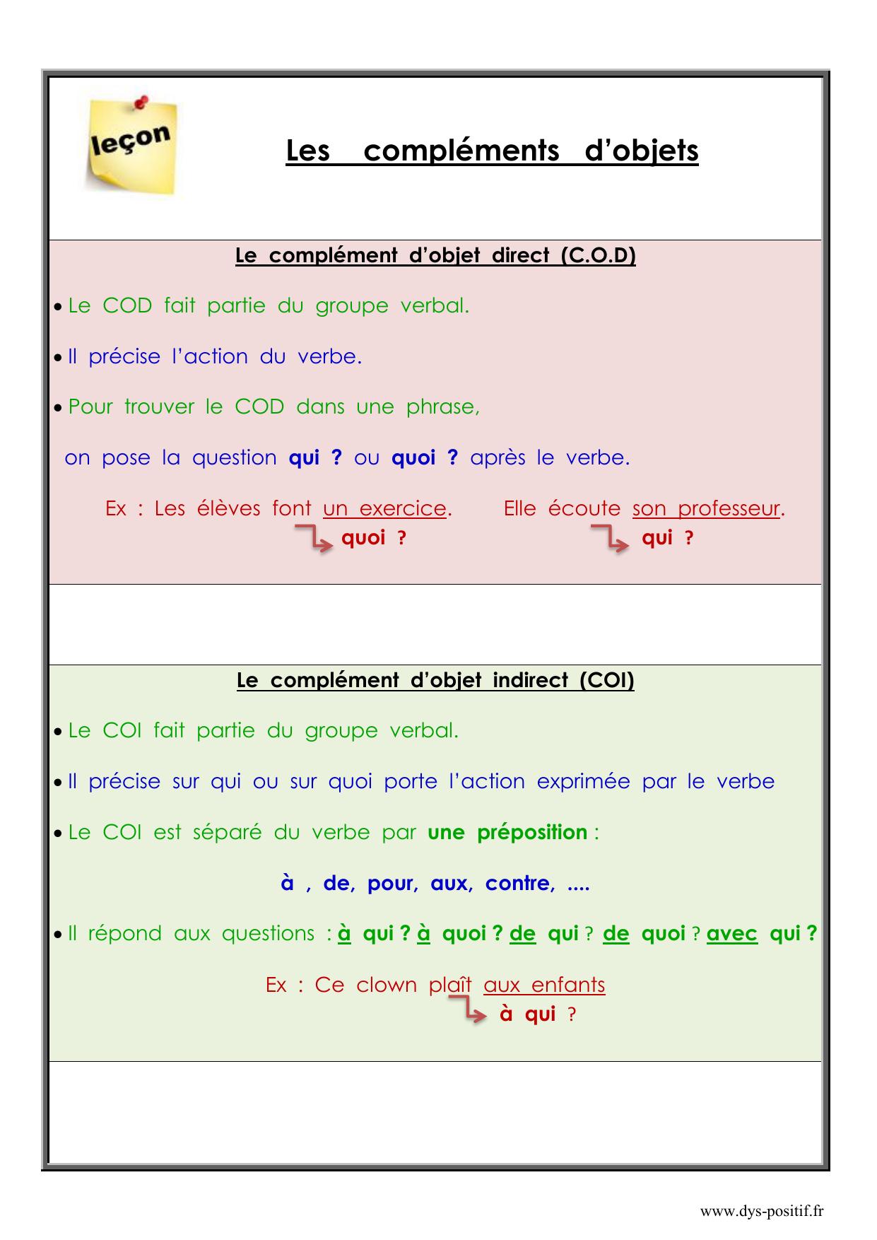 Grammaire CM2 - Leçon - COD - COI - Dys