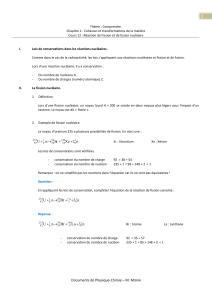 Documents de Physique-Chimie – M. MORIN 1 n2 Xe Sr n U + +