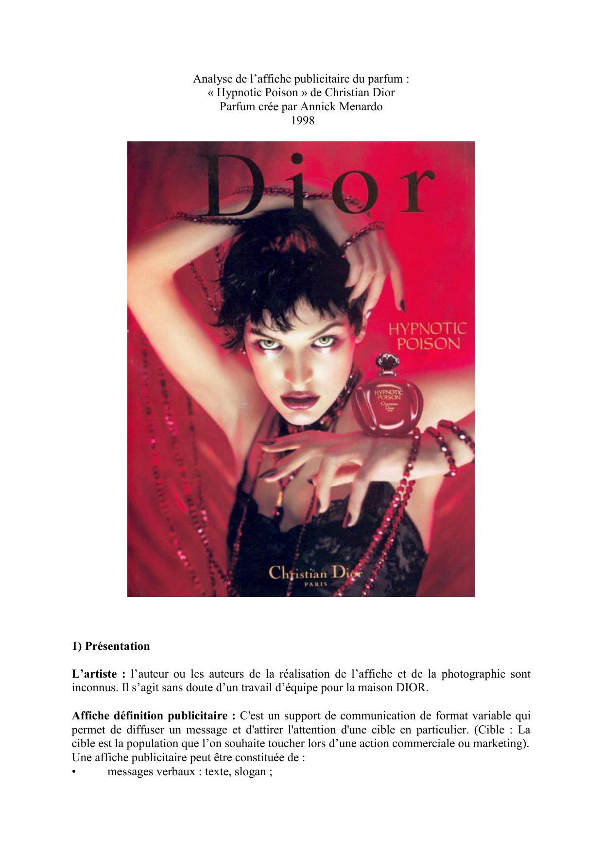 Fantastique Analyse de l`affiche publicitaire du parfum IZ-75