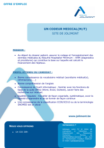 UN CODEUR MEDICAL(M/F) SITE DE JOLIMONT