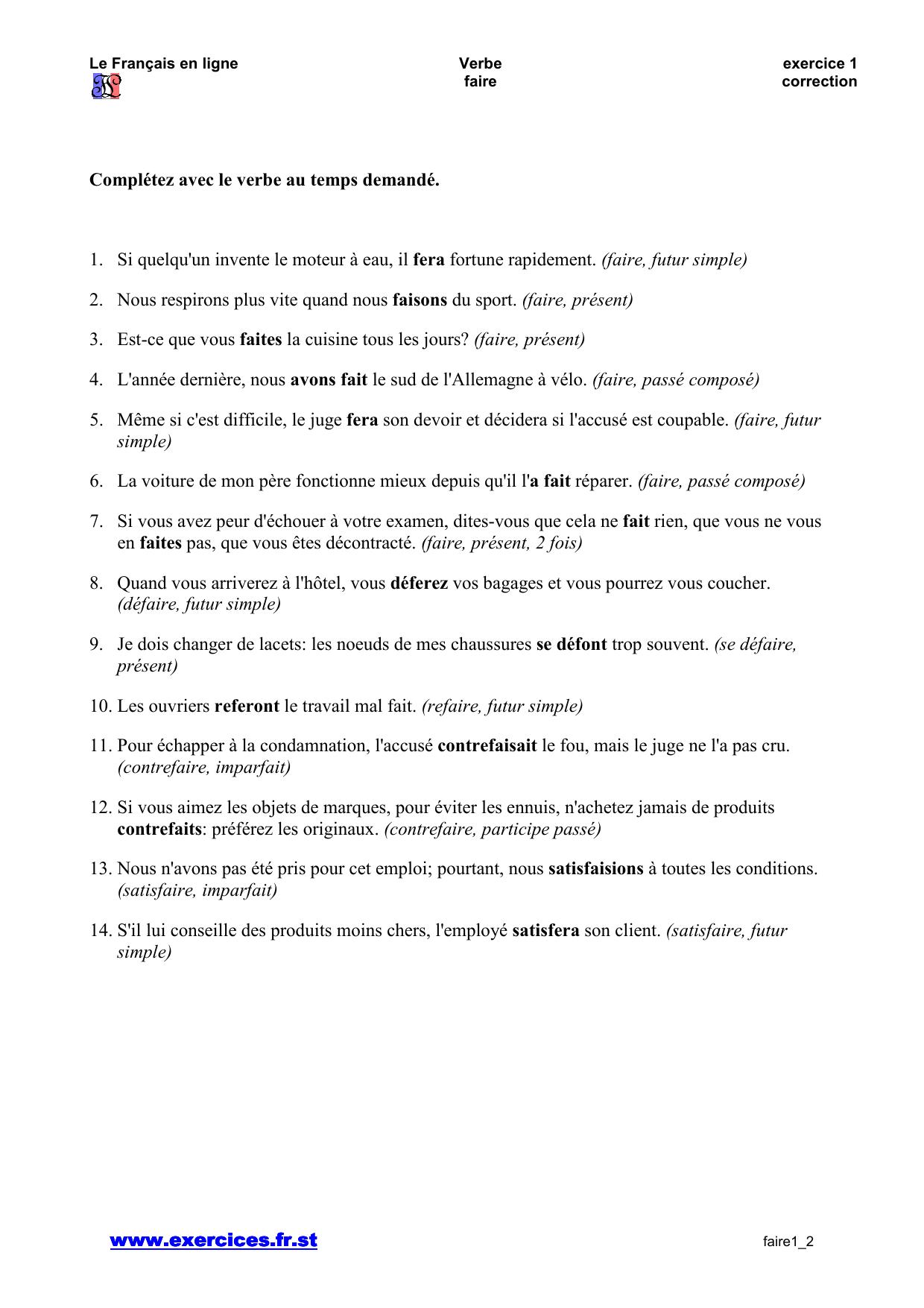 Www Exercices Fr St Completez Avec Le Verbe Au Temps Demande 1