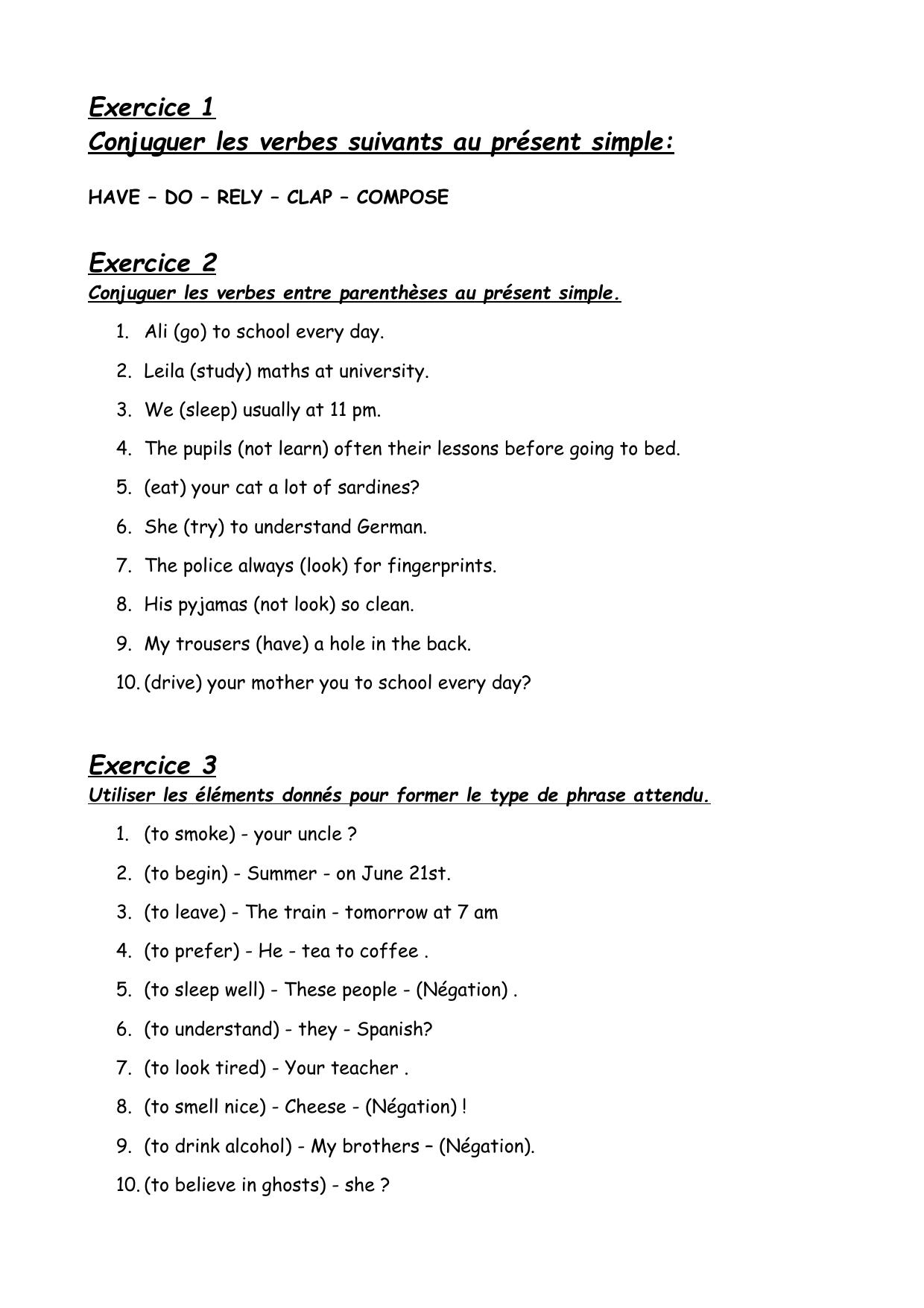 Exercice 1 Conjuguer Les Verbes Suivants Au Present Simple