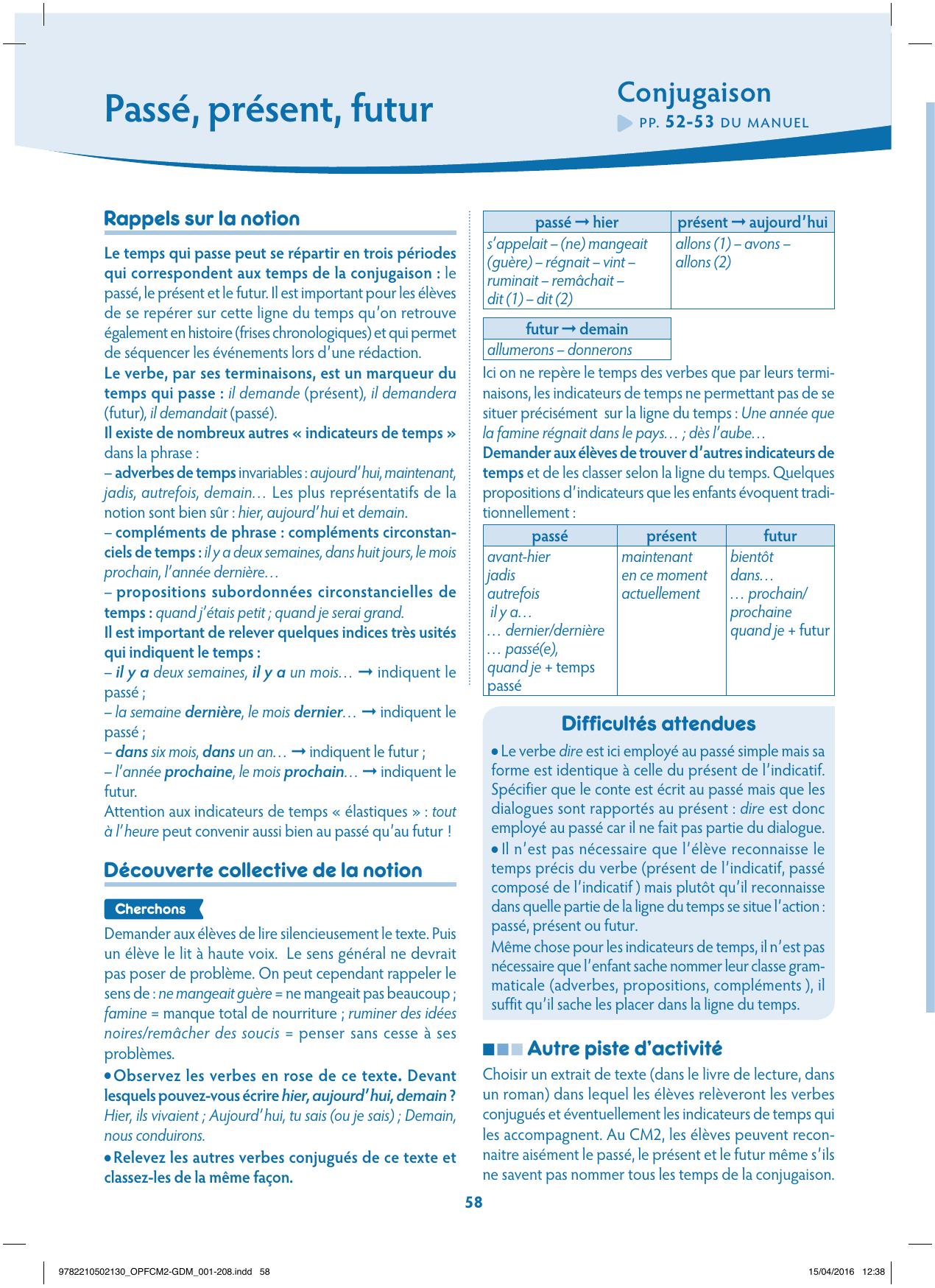 Conjugaison Les Nouveaux Outils Pour Le Francais Cm2 2016