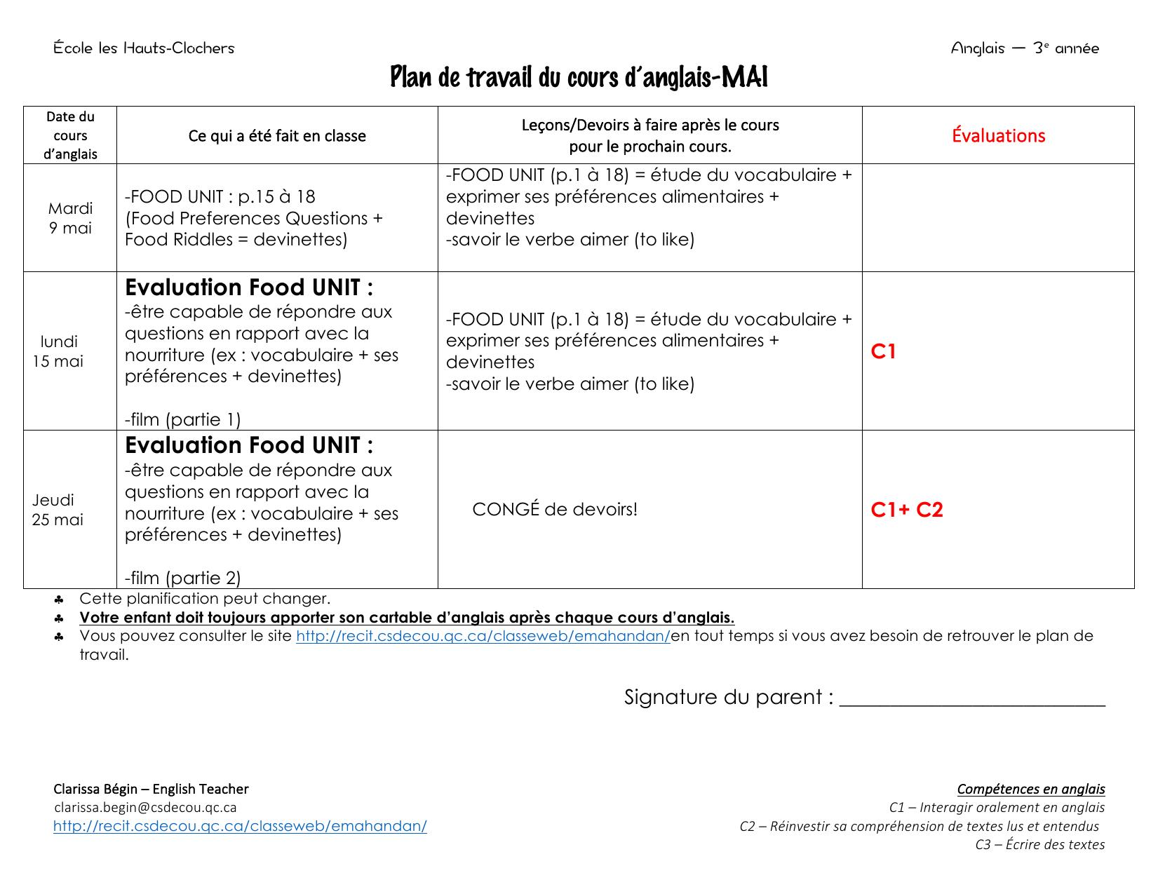 Plan De Travail En Anglais.Plan De Travail Du Cours D Anglais Mai