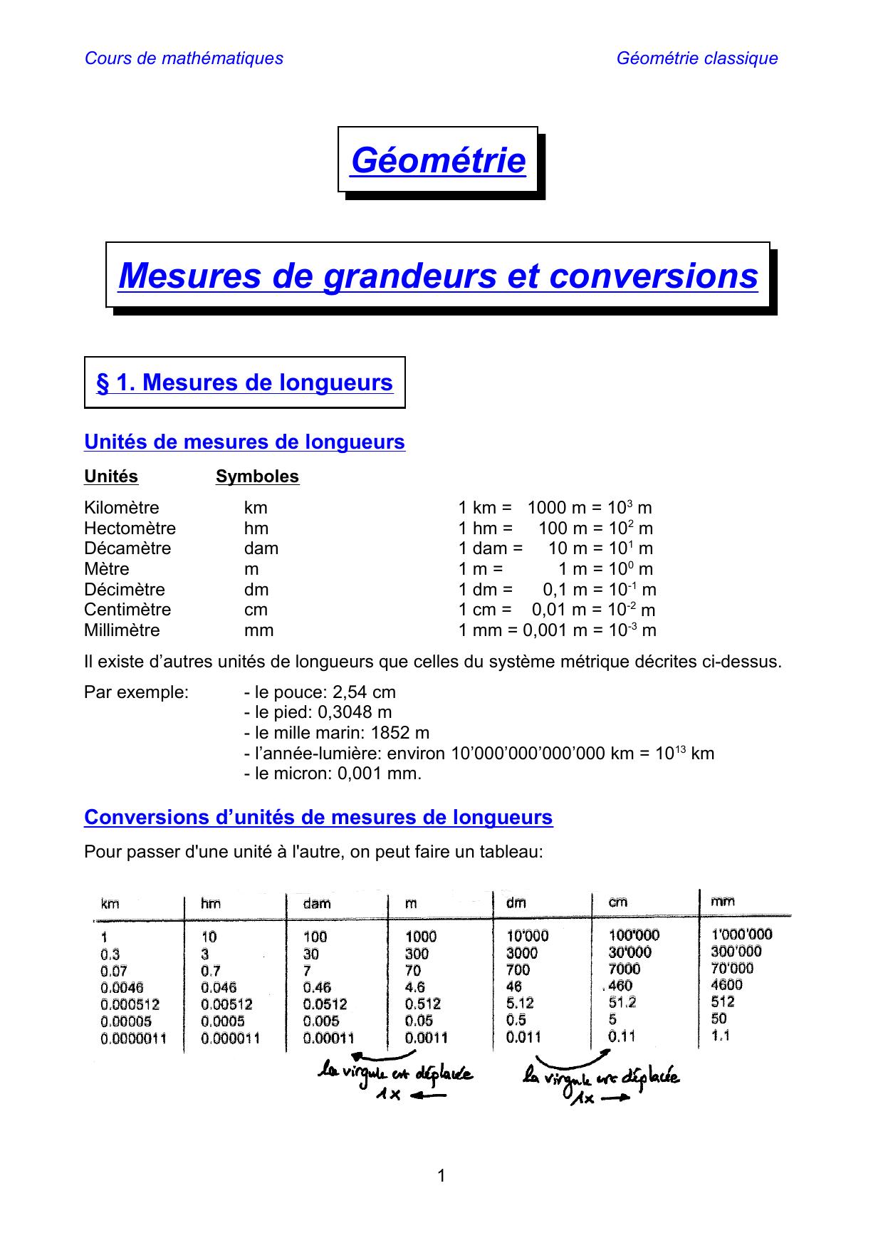 Geometrie Mesures De Grandeurs Et Conversions