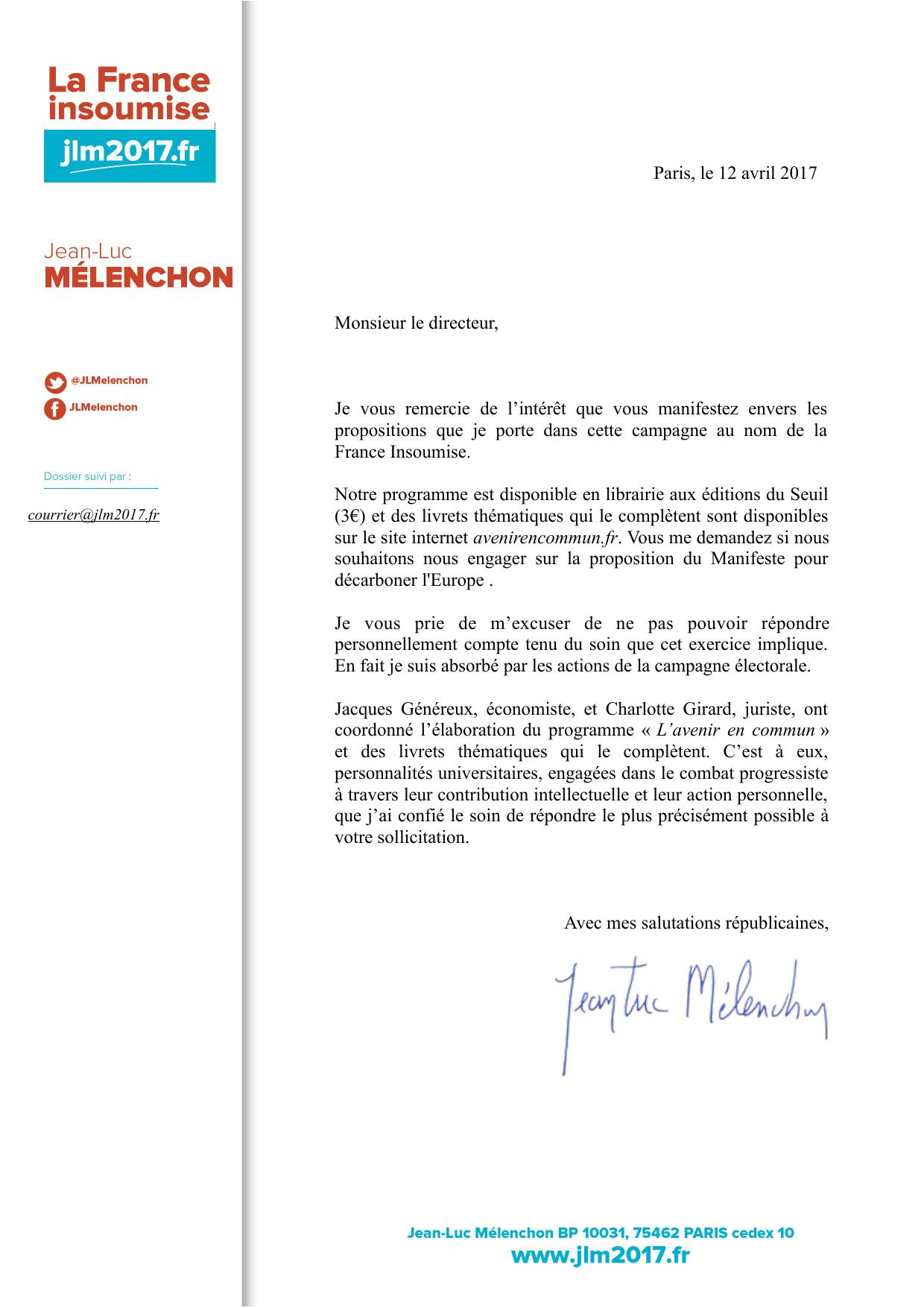 Paris, le 12 avril 2017 Monsieur le directeur, Je vous remercie de l