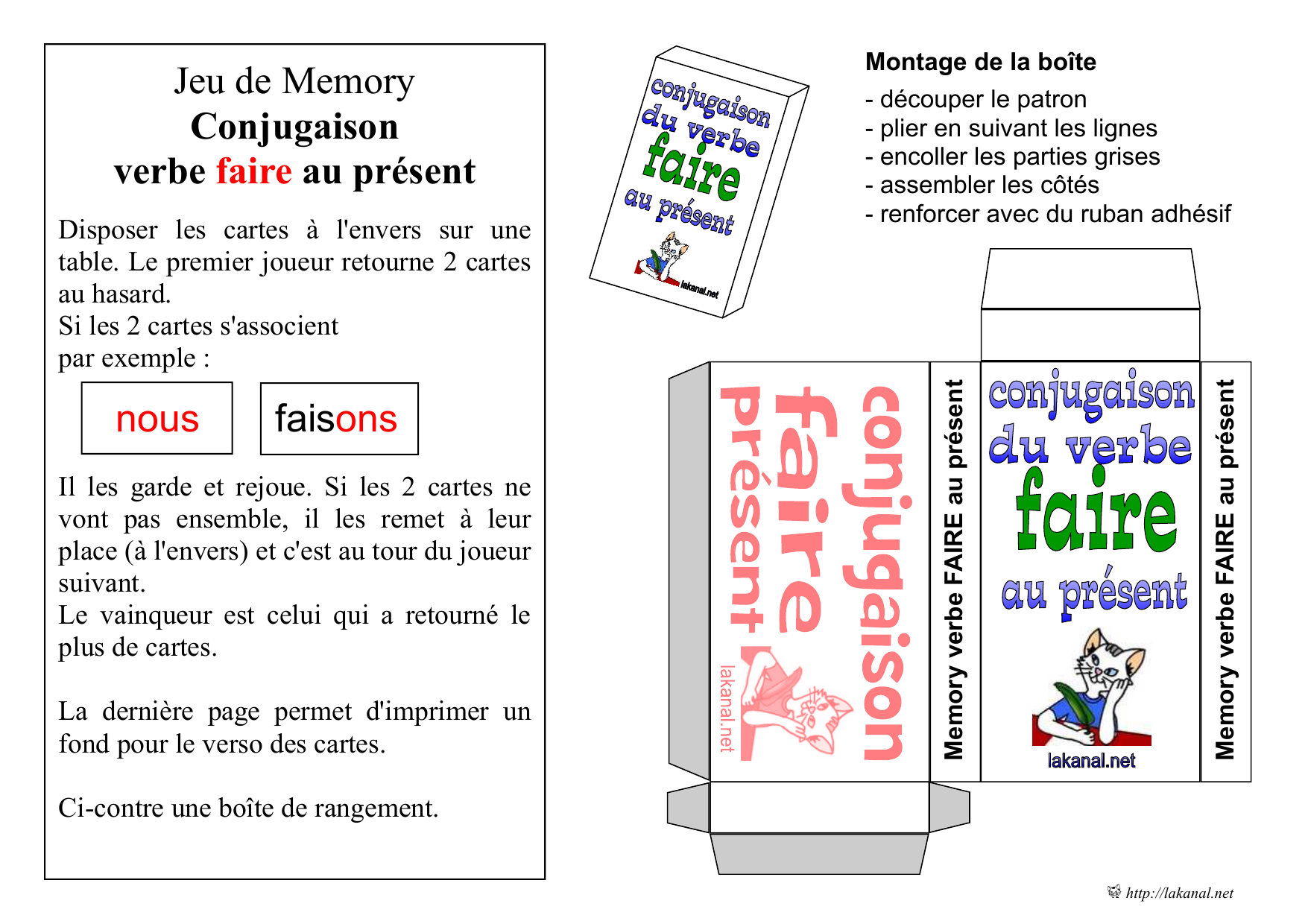 Jeu De Memory Conjugaison Verbe Faire Au Present