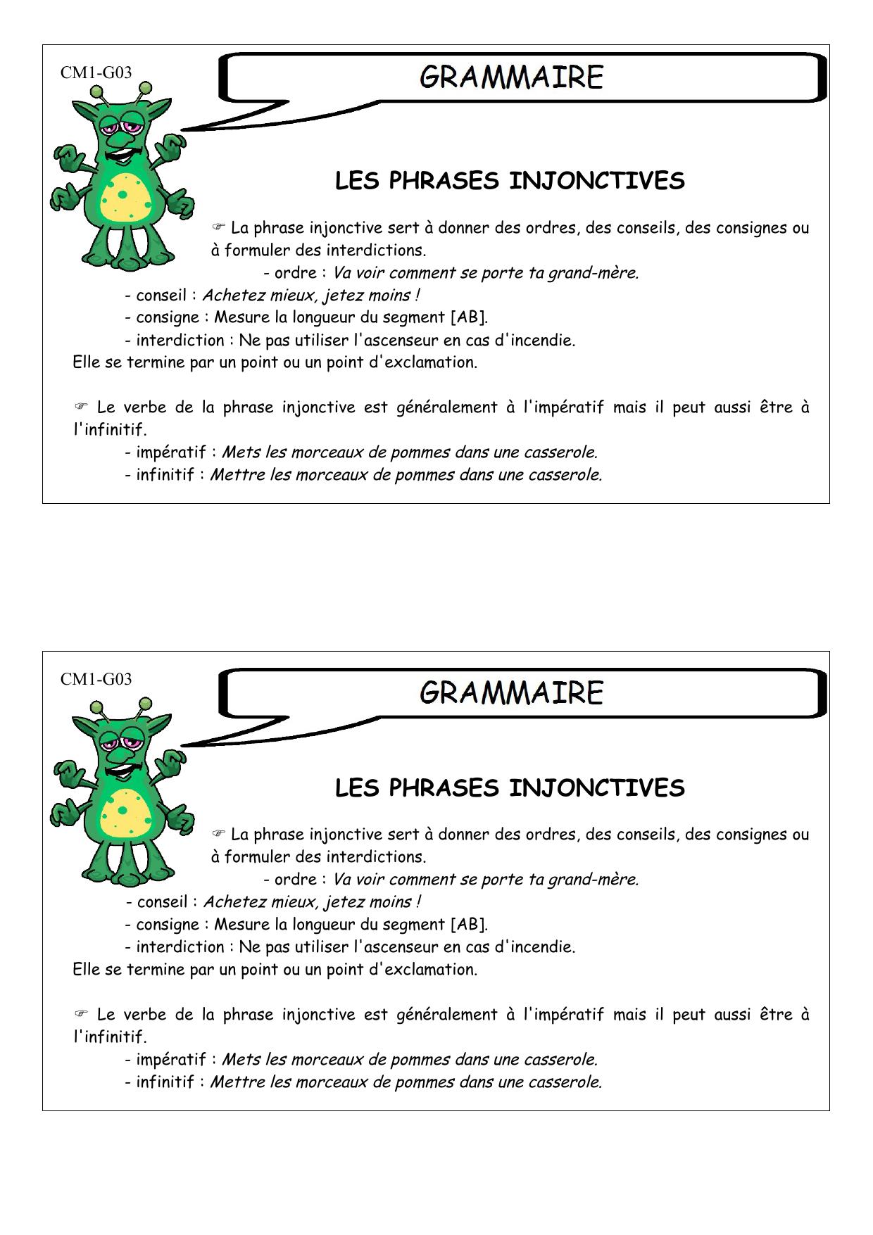 Les Phrases Injonctives Les Phrases Injonctives