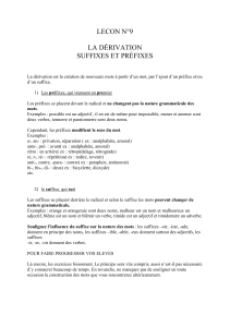 lecon n°9 la dérivation suffixes et préfixes