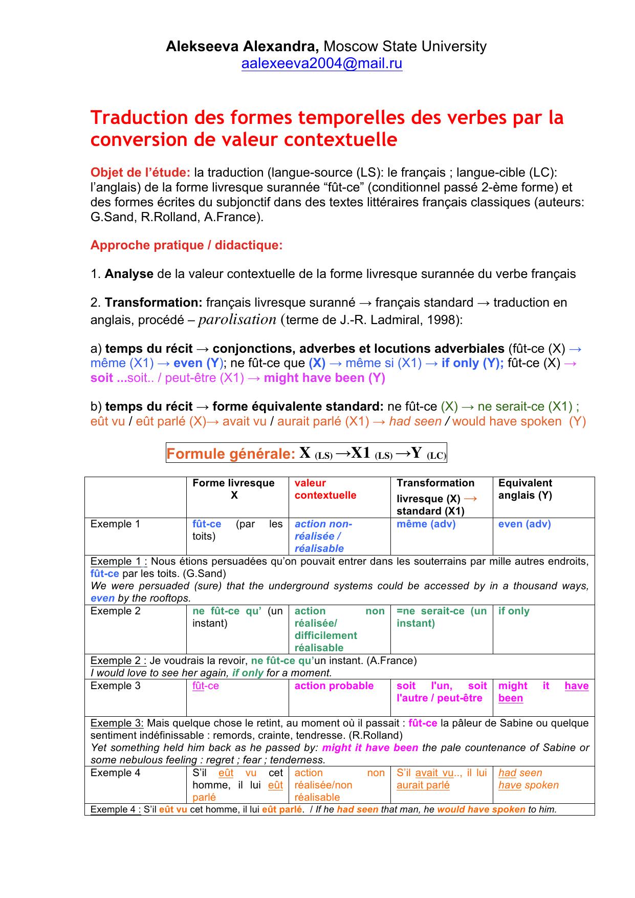 Traduction Des Formes Temporelles Des Verbes Par La Conversion De