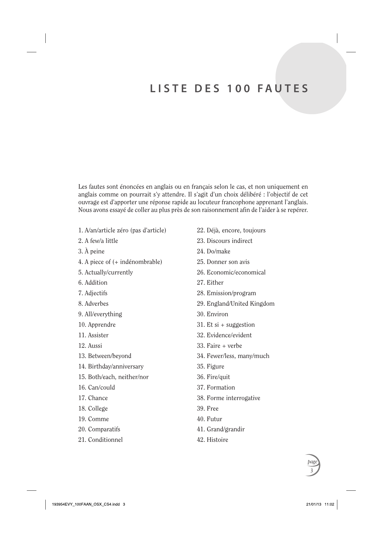 Liste Des 100 Fautes Pdf