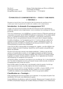 Introduction : la demande d`accompagnement TCC Classification ou