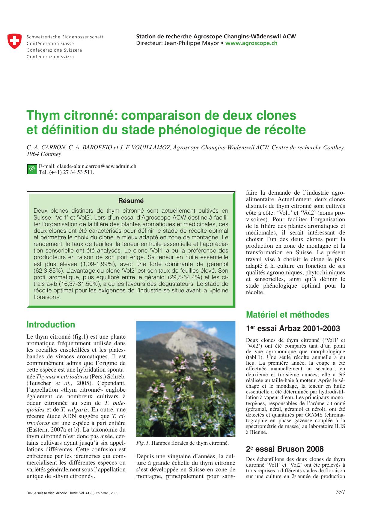 Différentes Variétés De Thym thym citronné: comparaison de deux clones et définition du stade