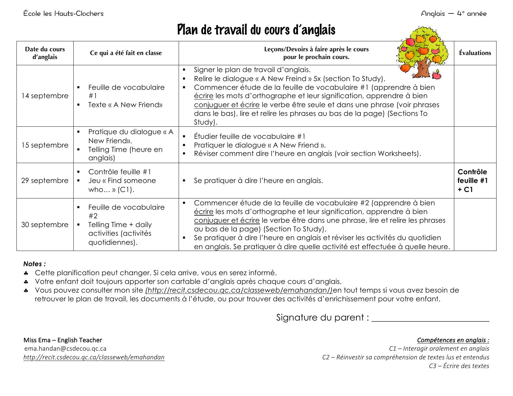 Plan De Travail Du Cours D Anglais