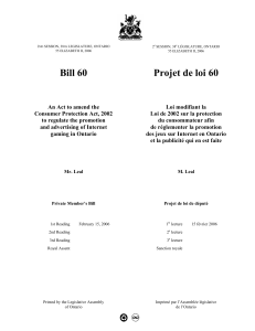 Private Member`s Bill Cover - Legislative Assembly of Ontario