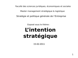 L`intention stratégique