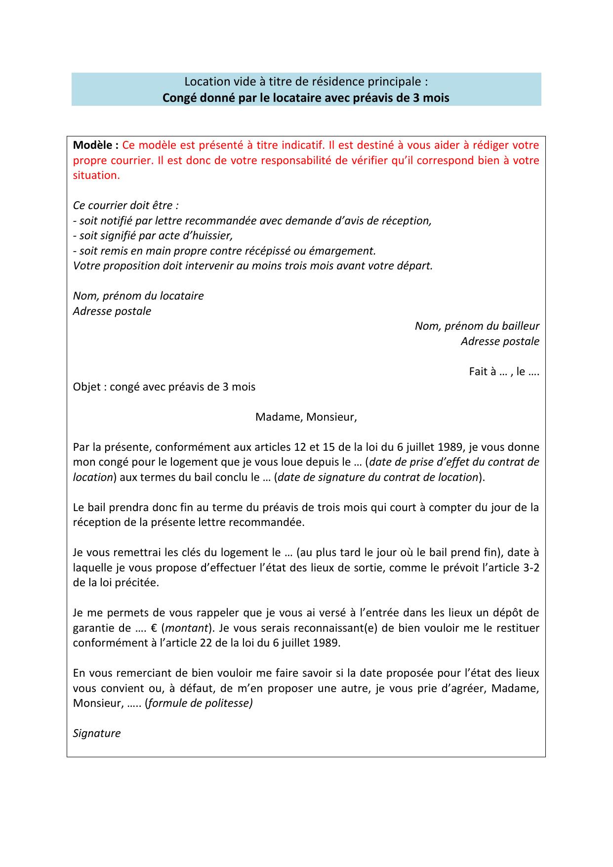 Location vide : Modèle de lettre Congé avec préavis réduit à 3 mois