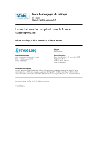 Les mutations du pamphlet dans la France contemporaine