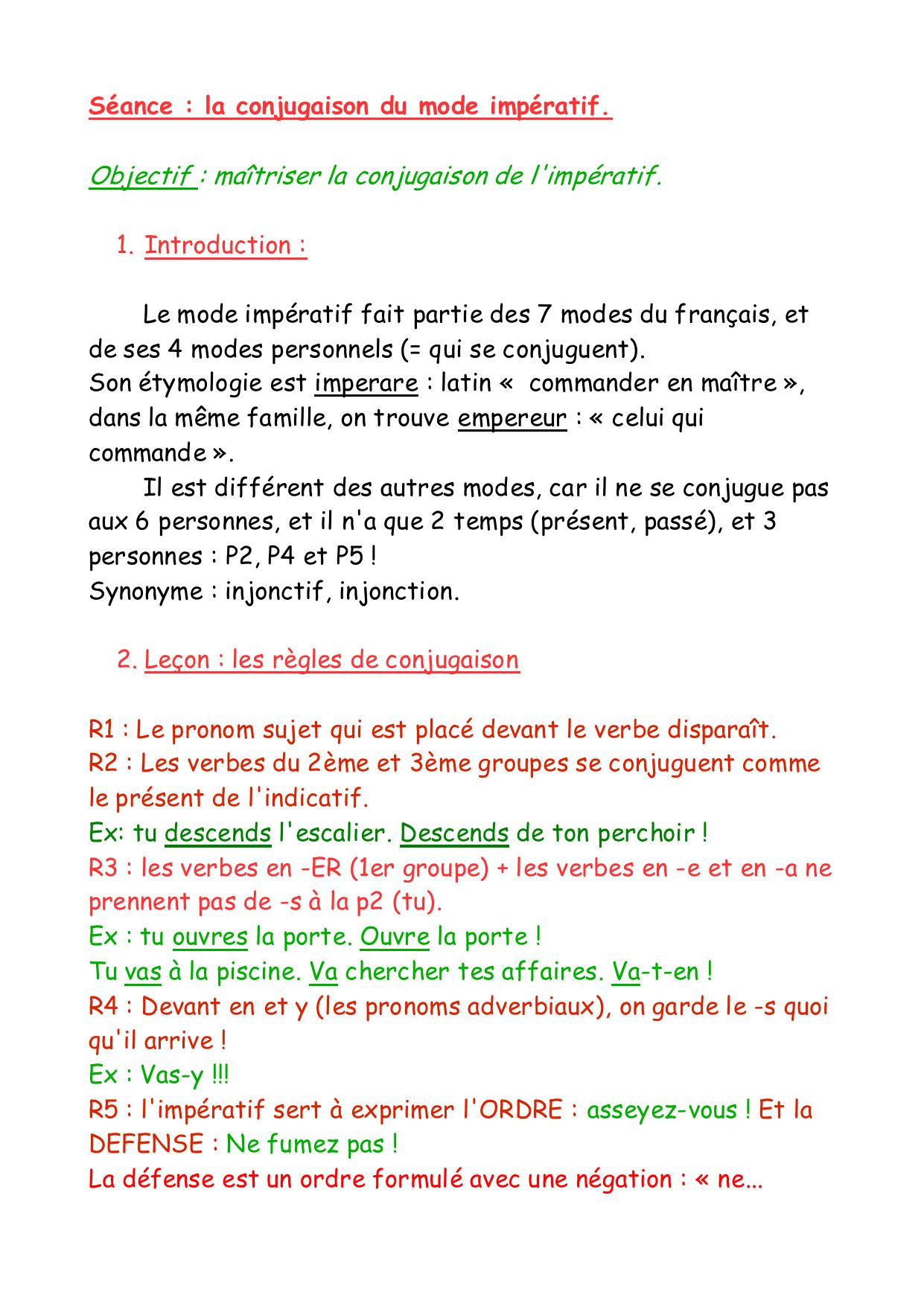 Objectif Maitriser La Conjugaison De L Imperatif