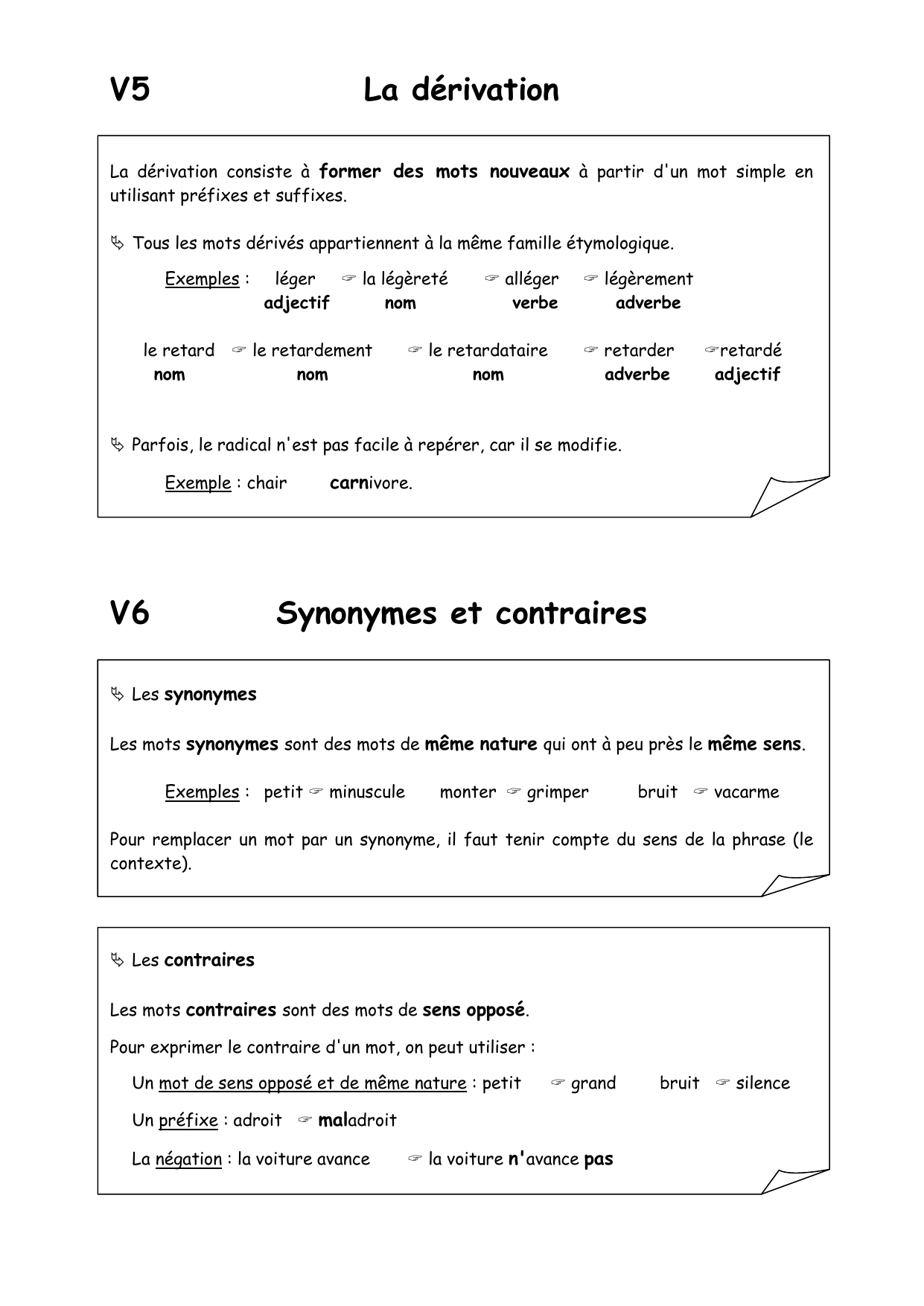 V5 La Derivation V6 Synonymes Et Contraires
