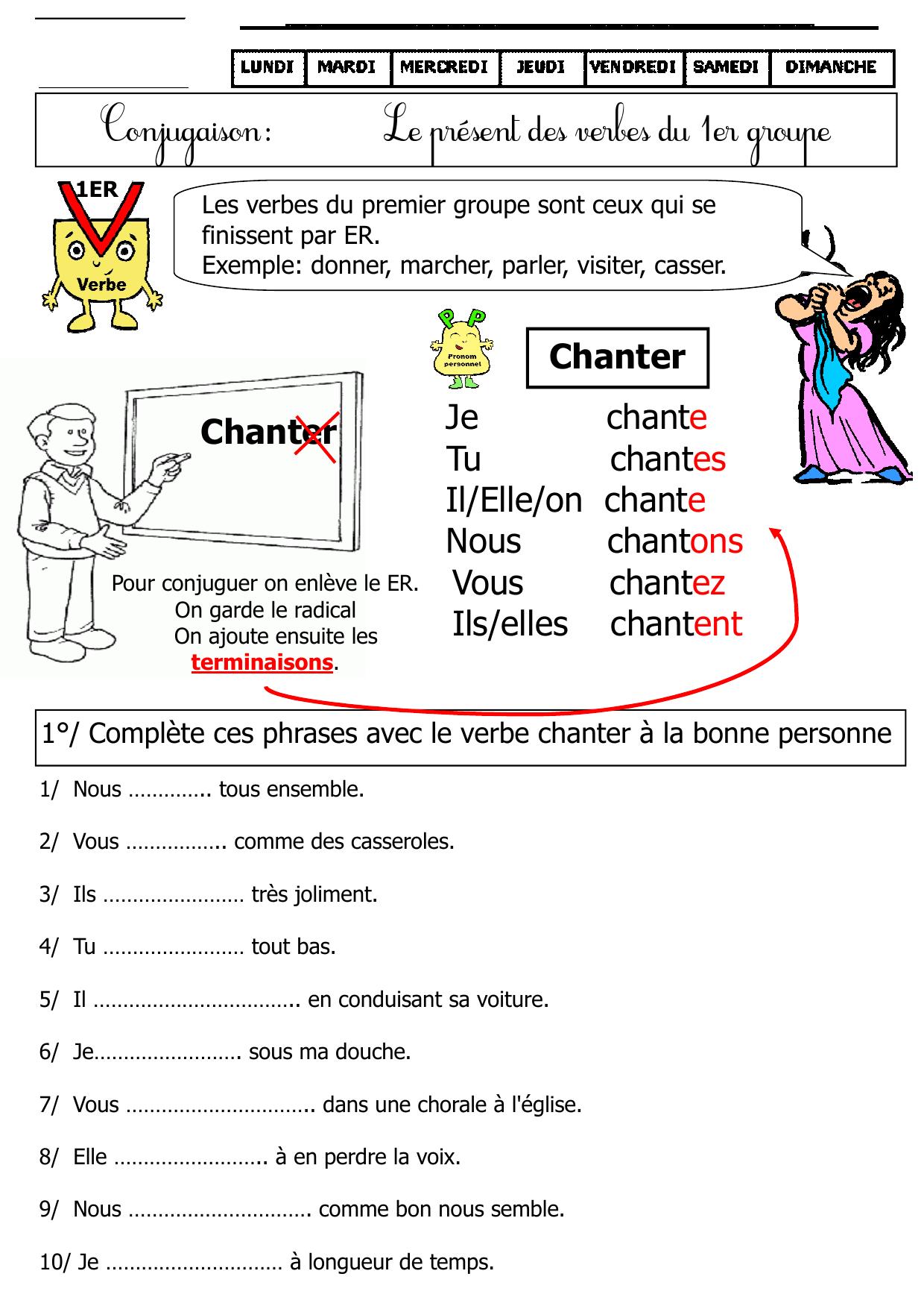 Present Verbes Du Premier Groupe Ce1 Ce2