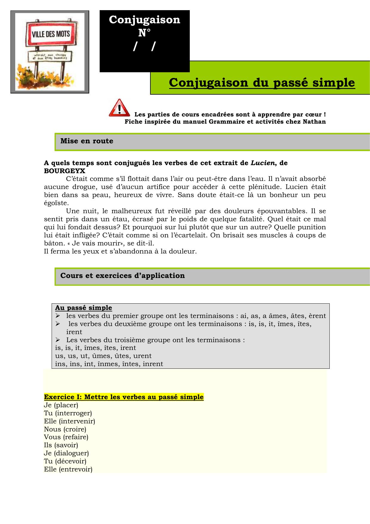 Conjugaison Du Passe Simple