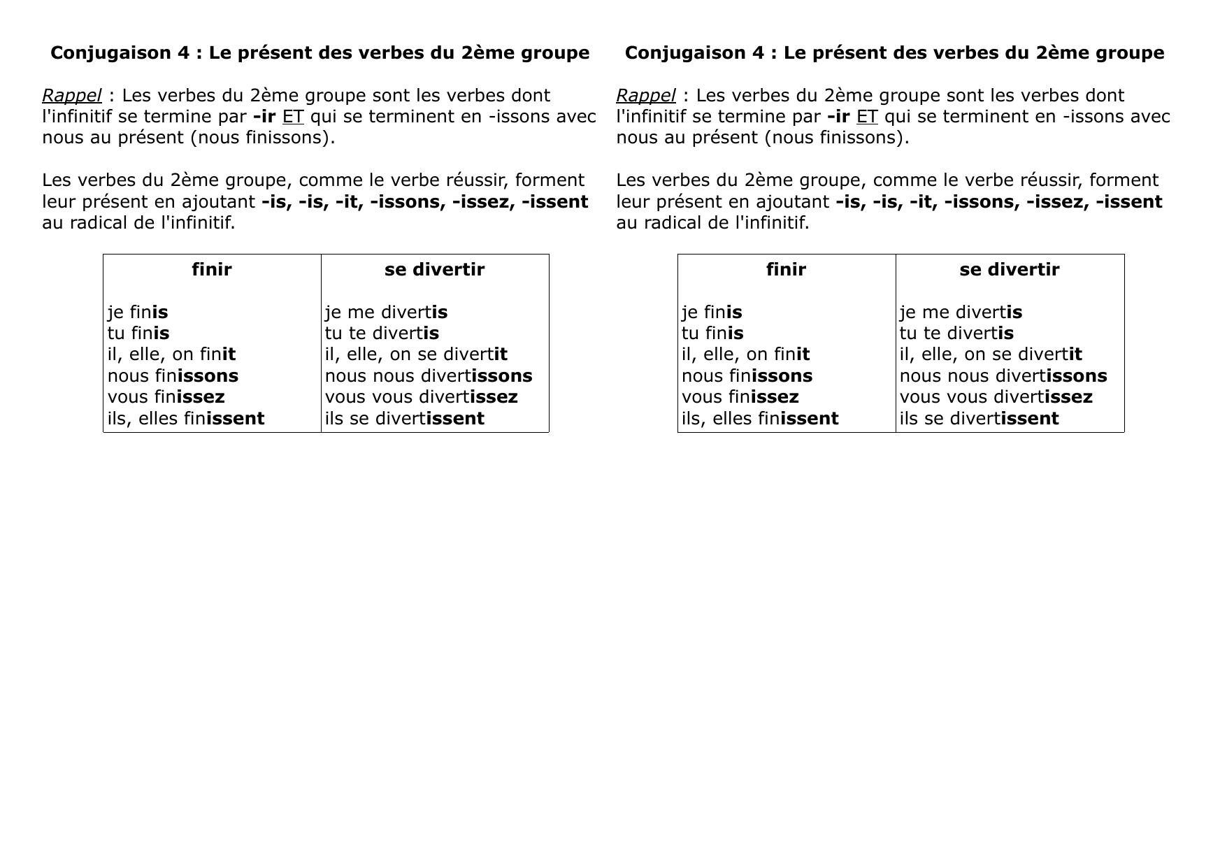 Conjugaison 4 Le Present Des Verbes Du 2eme Groupe Rappel