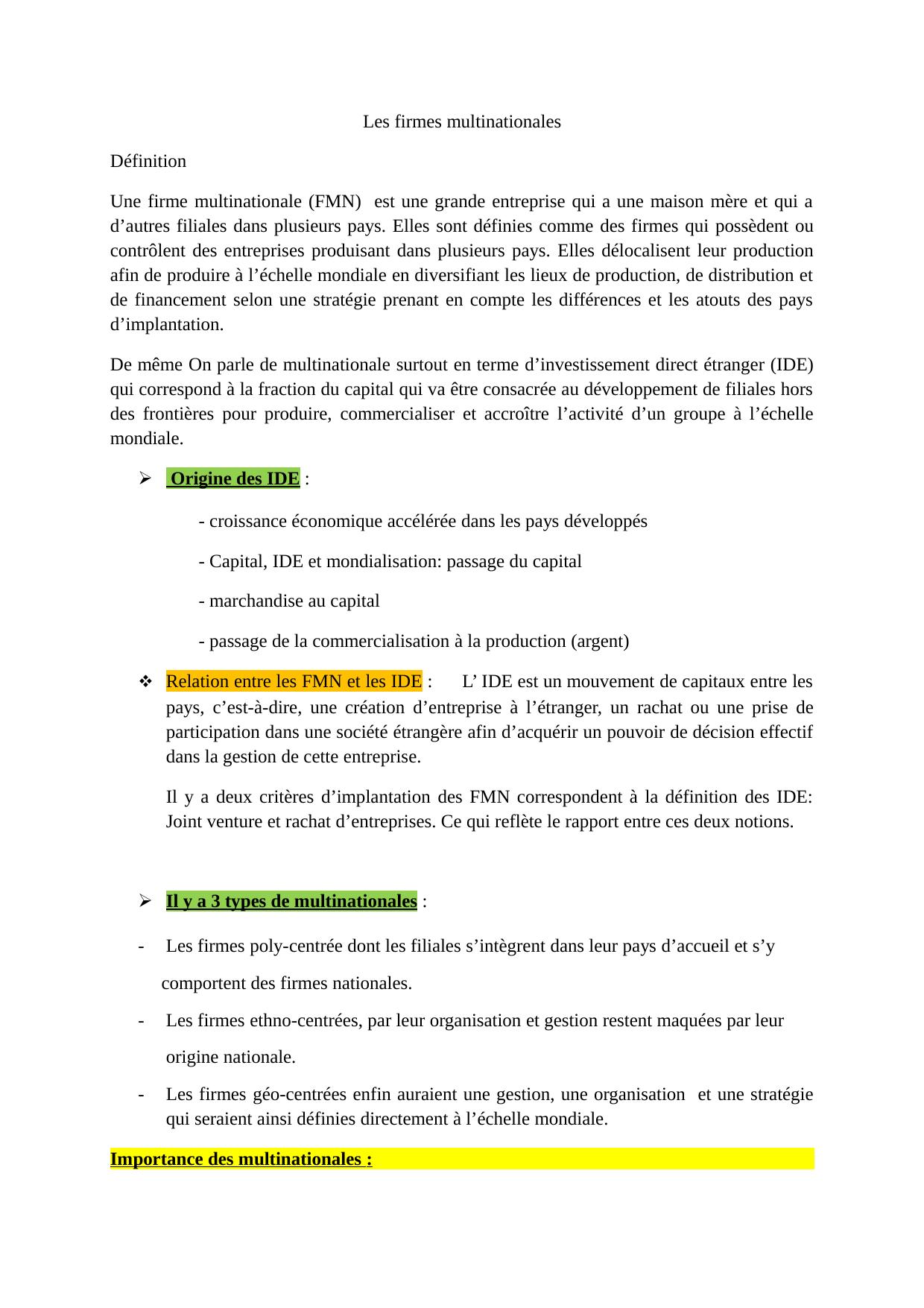 Les Firmes Multinationales Definition Une Firme